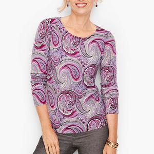 Tablots Gathered Shoulder Merino Sweater - Paisley